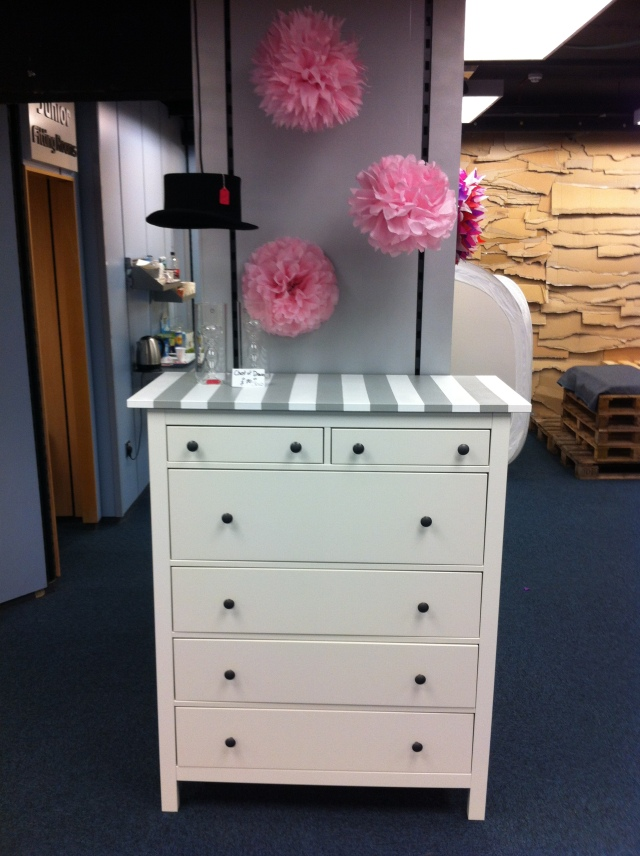 Striped tall chest of drawers